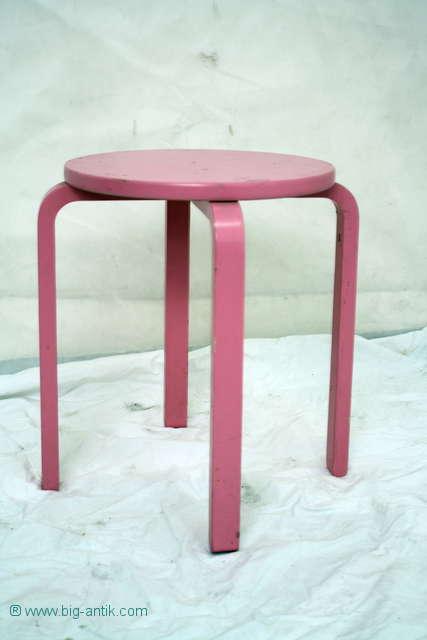 Gartentisch Holz Aufarbeiten ~ Shabby Chic! Schöner runder Holzhocker  Hocker  Sitzhocker  Rosa