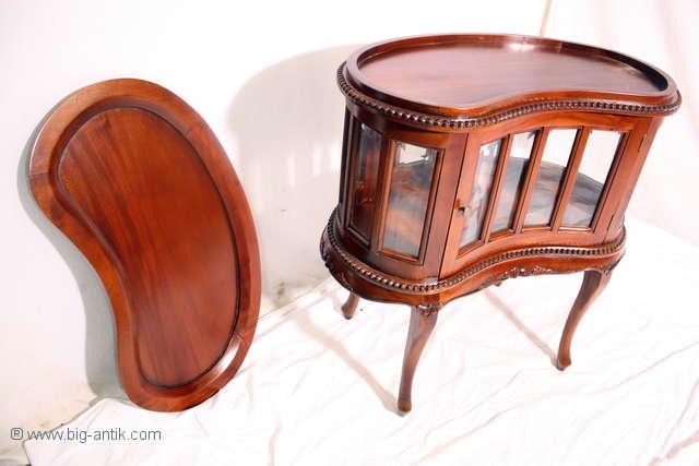 traumhafter chippendale teetisch vitrinentisch nierenf rmig bartisch massiv ebay. Black Bedroom Furniture Sets. Home Design Ideas