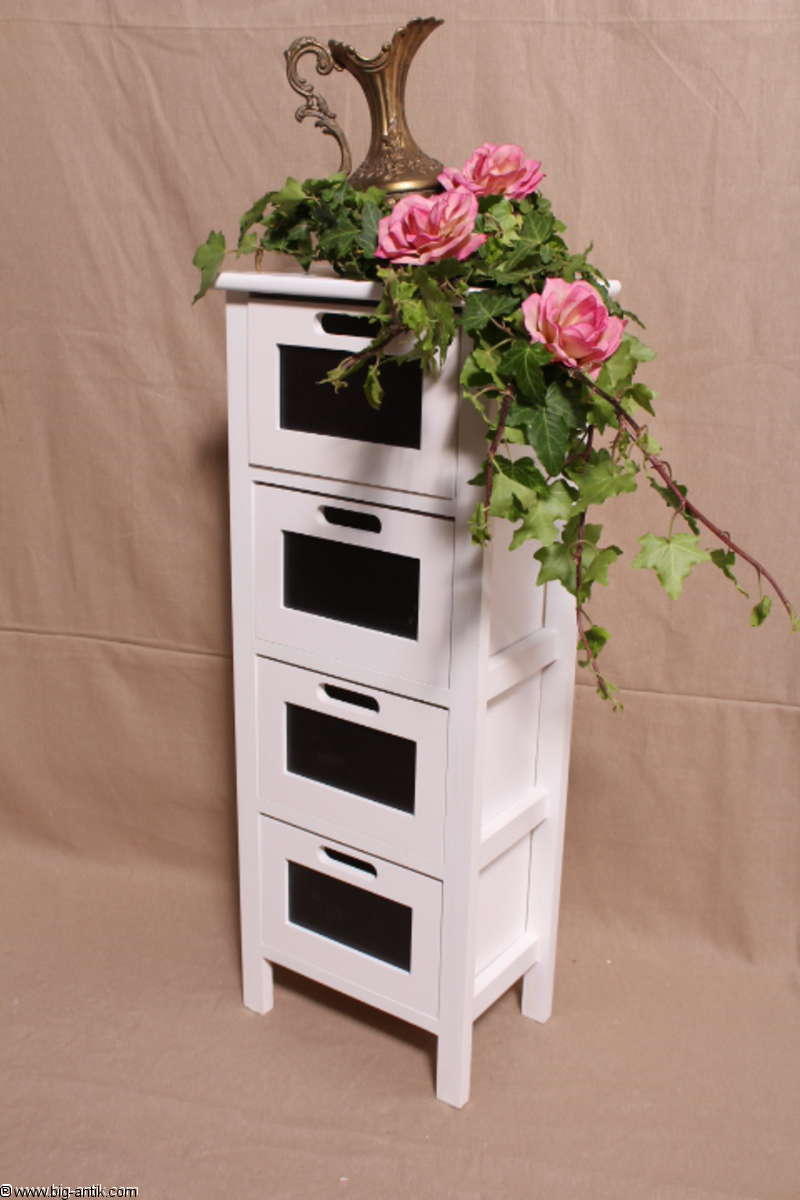 shabby chic wundersch ner schubladenschrank k chenschrank badschrank 4 schublad ebay. Black Bedroom Furniture Sets. Home Design Ideas