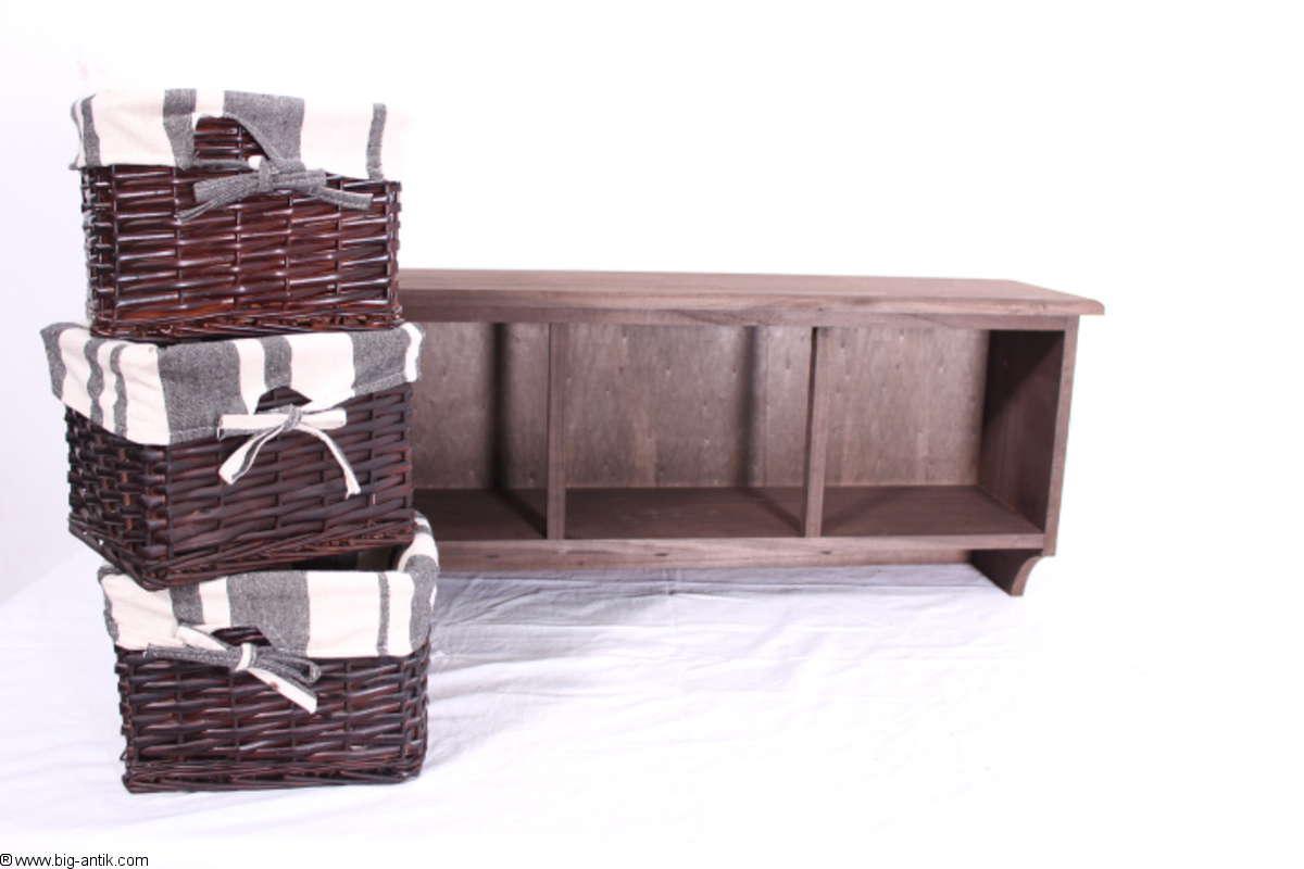 farmhouse kitchen shelf wall shelf 3 basket drawers fabric. Black Bedroom Furniture Sets. Home Design Ideas