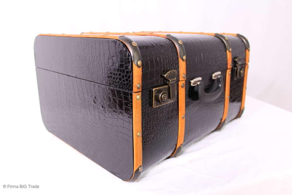 Oldtimerkoffer 3 Größen VINTAGE Holzlatten M blau gestreift Koffer