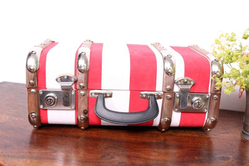 "Koffer blau gestreift Holzlatten 3 Größen /""L/"" Vintage Oldtimerkoffer"