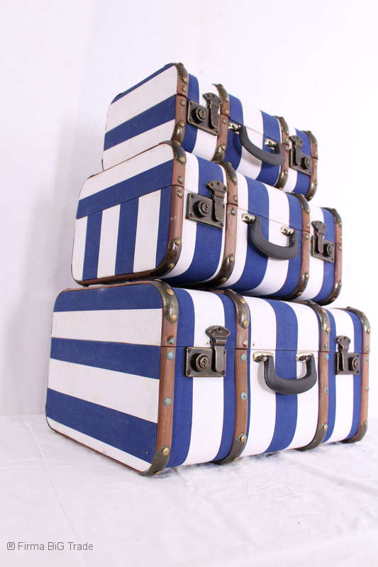 "Koffer Oldtimerkoffer Vintage Holzlatten 3 Größen /""L/"" blau gestreift"