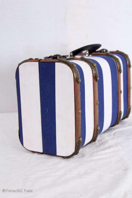 Oldtimerkoffer Koffer blau gestreift Holzlatten 3 Größen Vorhanden L VINTAGE