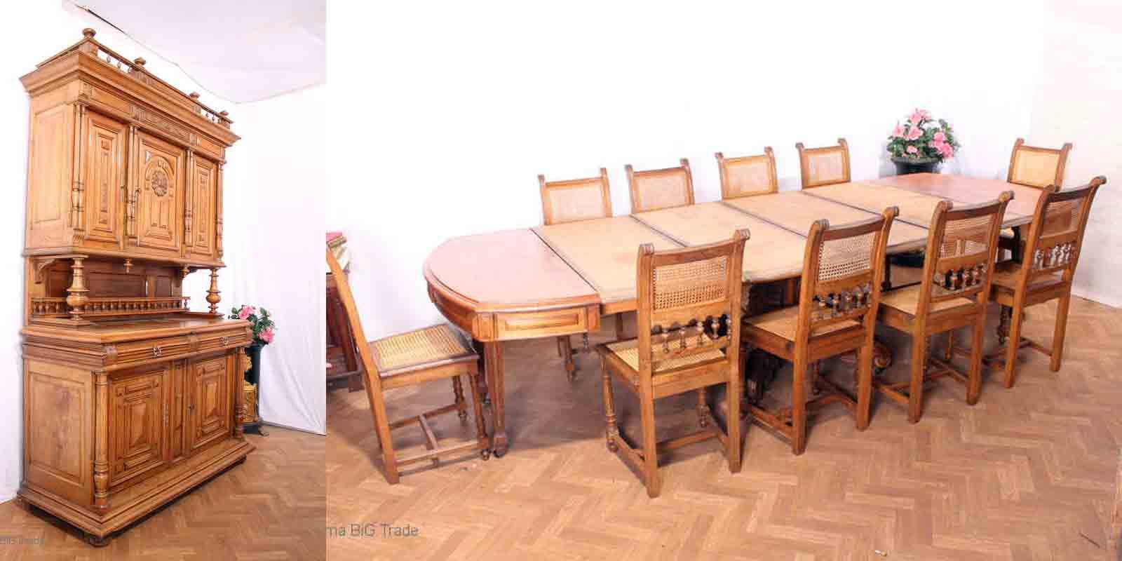 Antikes Gründerzeit Esszimmer, Kredenz, Kulissentisch U. 10 Stühle 5  Einlageplatten ...